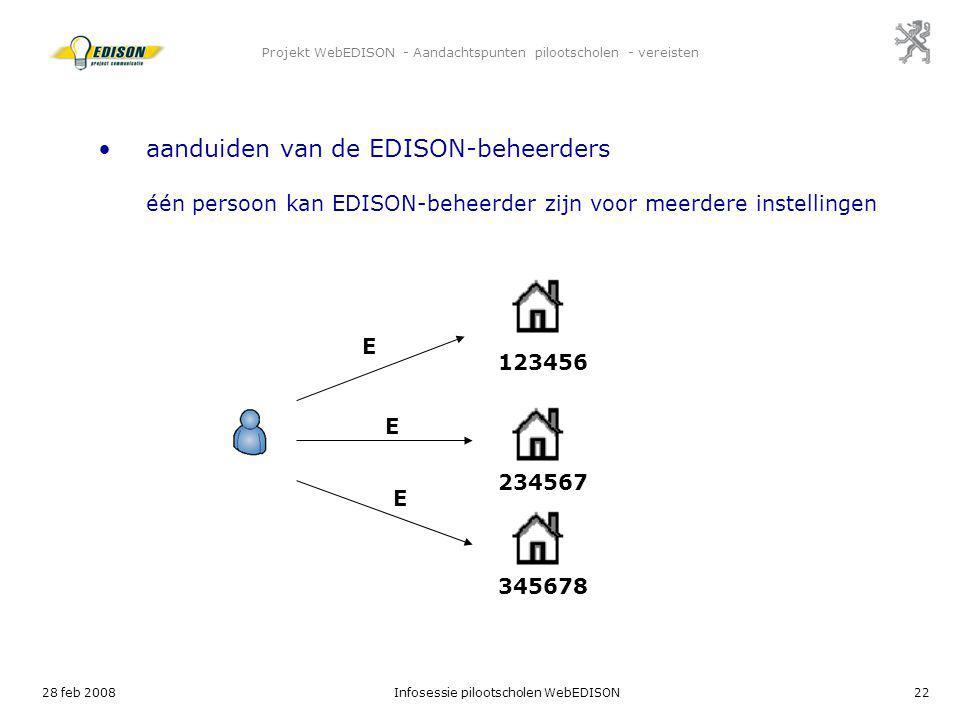 28 feb 2008Infosessie pilootscholen WebEDISON22 Projekt WebEDISON - Aandachtspunten pilootscholen - vereisten E 123456 aanduiden van de EDISON-beheerd