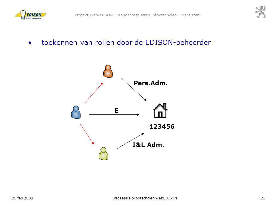 28 feb 2008Infosessie pilootscholen WebEDISON23 Projekt WebEDISON - Aandachtspunten pilootscholen - vereisten E 123456 toekennen van rollen door de ED