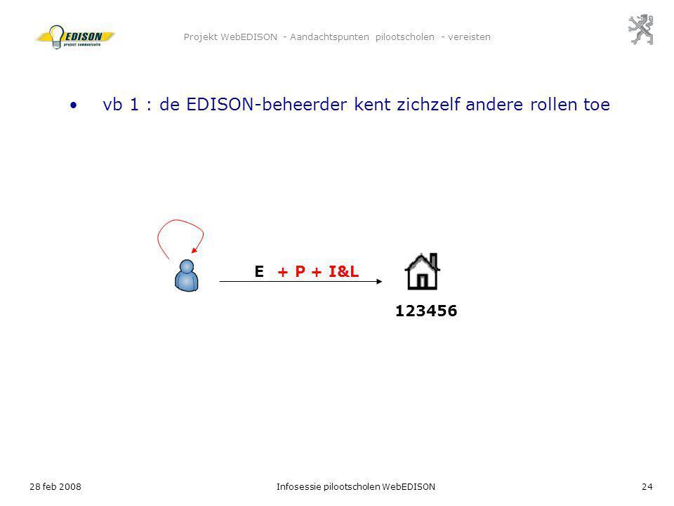 28 feb 2008Infosessie pilootscholen WebEDISON24 Projekt WebEDISON - Aandachtspunten pilootscholen - vereisten E 123456 vb 1 : de EDISON-beheerder kent