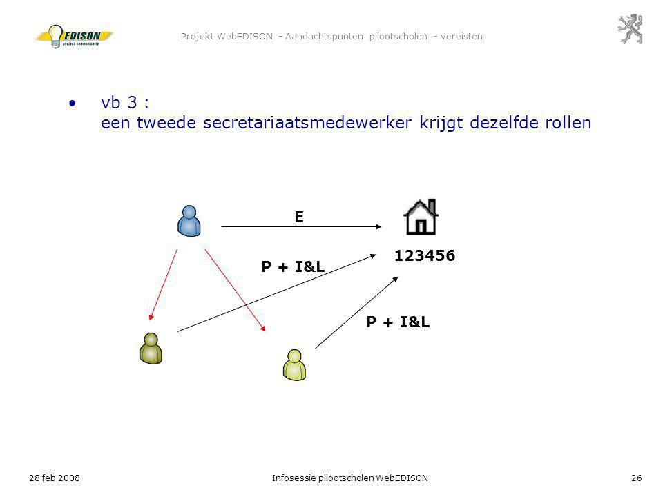 28 feb 2008Infosessie pilootscholen WebEDISON26 Projekt WebEDISON - Aandachtspunten pilootscholen - vereisten E 123456 vb 3 : een tweede secretariaats