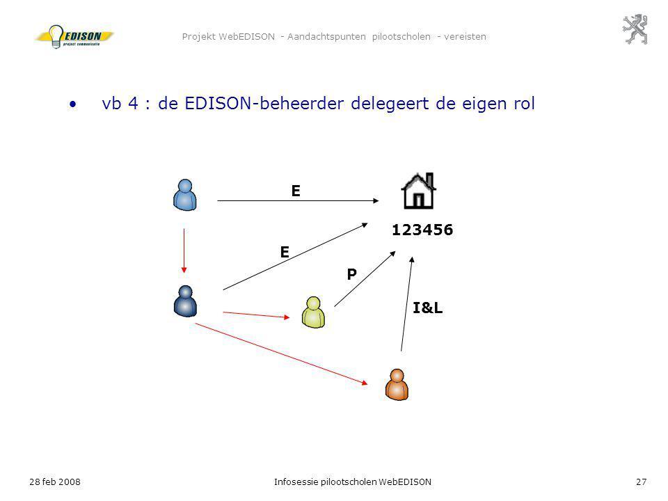 28 feb 2008Infosessie pilootscholen WebEDISON27 Projekt WebEDISON - Aandachtspunten pilootscholen - vereisten E 123456 vb 4 : de EDISON-beheerder dele
