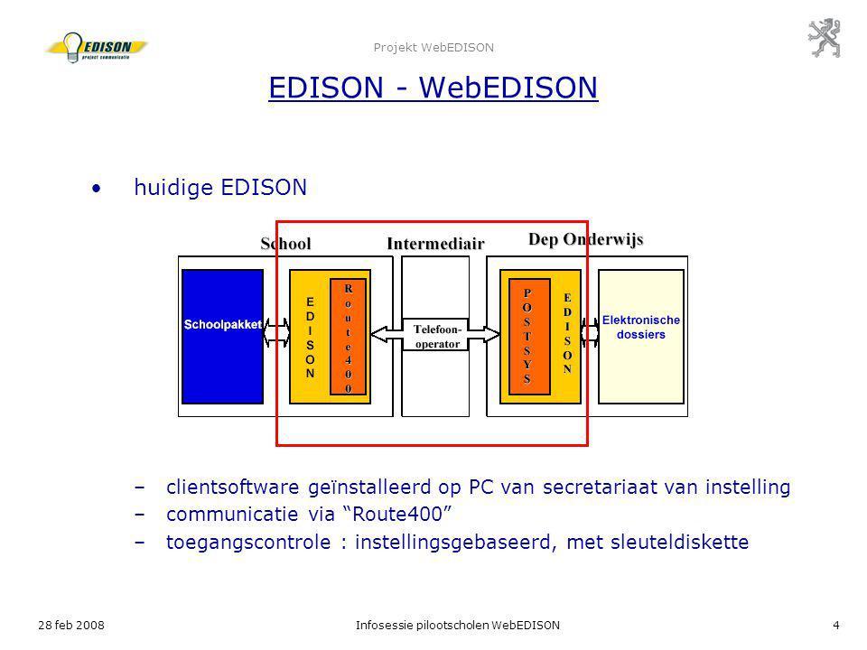 28 feb 2008Infosessie pilootscholen WebEDISON4 Projekt WebEDISON EDISON - WebEDISON huidige EDISON –clientsoftware geïnstalleerd op PC van secretariaa