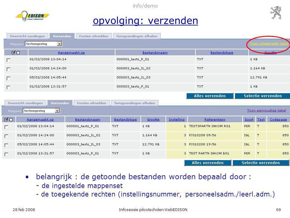 28 feb 2008Infosessie pilootscholen WebEDISON69 belangrijk : de getoonde bestanden worden bepaald door : - de ingestelde mappenset - de toegekende rec
