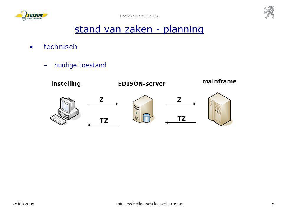 28 feb 2008Infosessie pilootscholen WebEDISON8 Projekt webEDISON stand van zaken - planning technisch –huidige toestand instellingEDISON-server mainfr