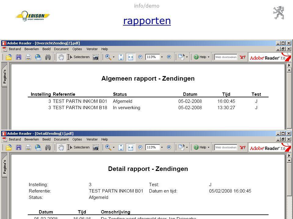 28 feb 2008Infosessie pilootscholen WebEDISON85 info/demo rapporten