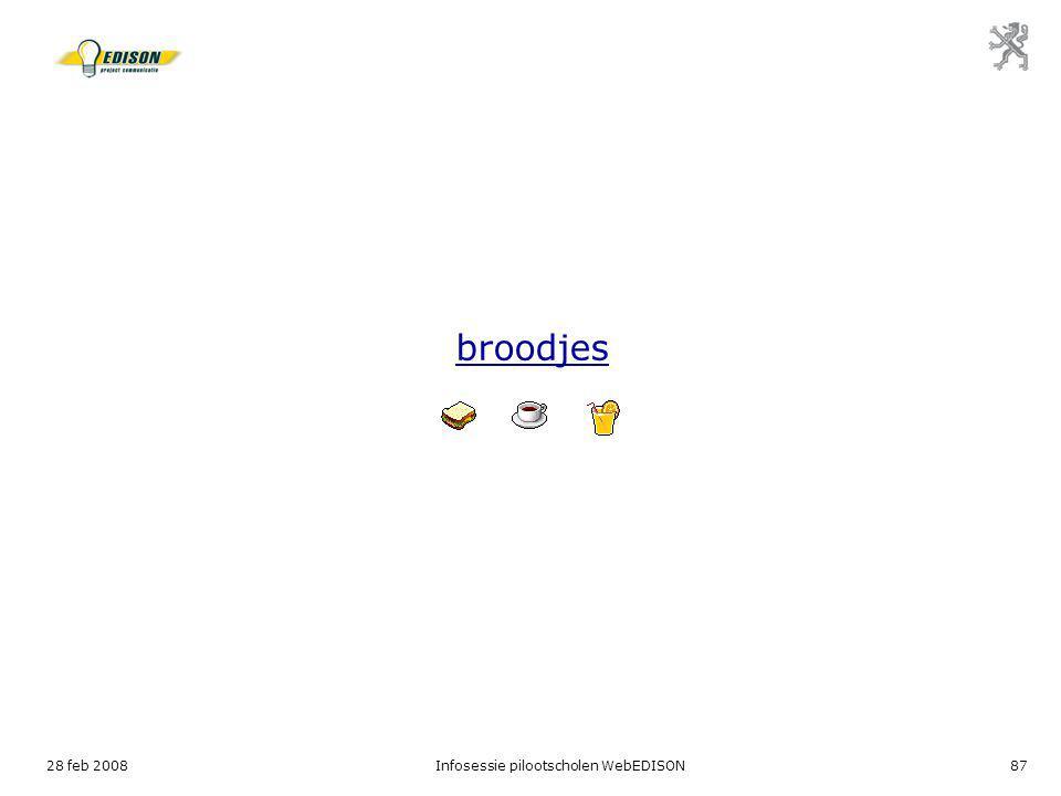 28 feb 2008Infosessie pilootscholen WebEDISON87 broodjes
