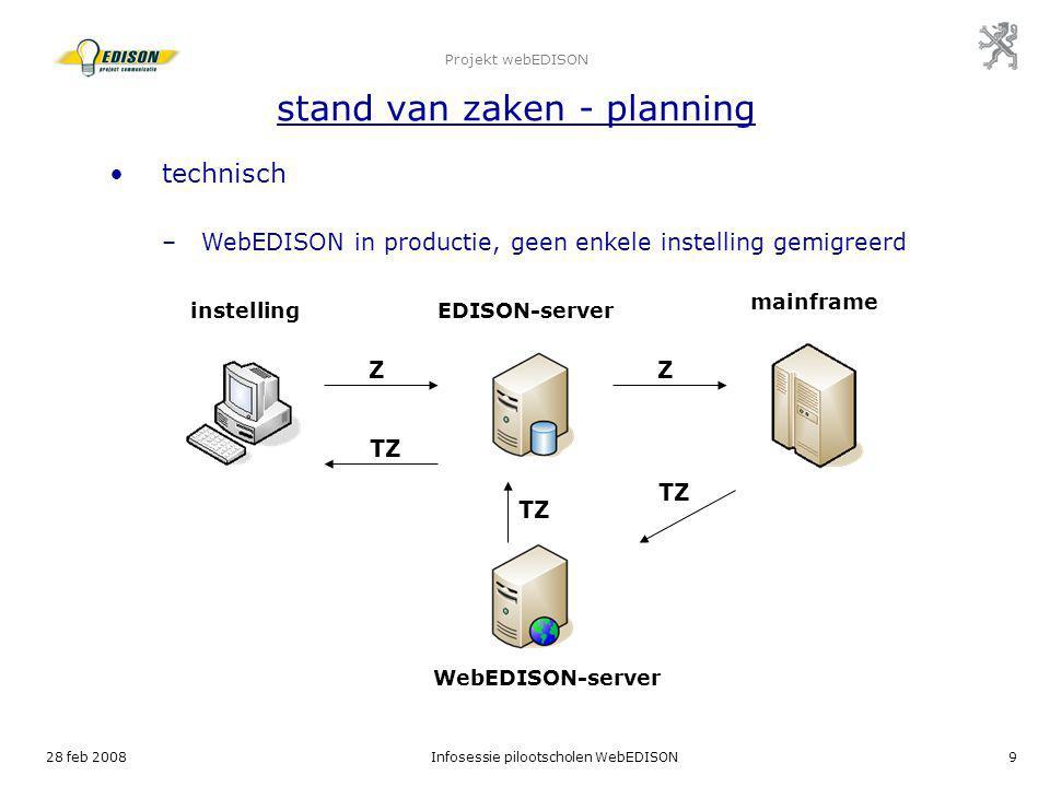 28 feb 2008Infosessie pilootscholen WebEDISON9 Projekt webEDISON stand van zaken - planning technisch –WebEDISON in productie, geen enkele instelling