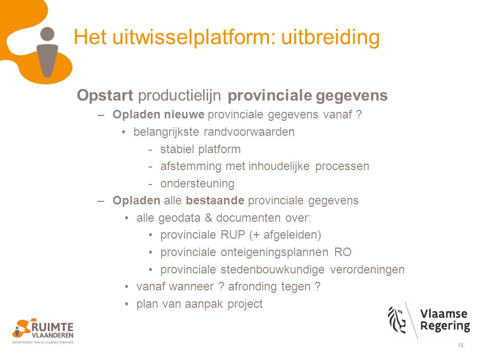 15 Het uitwisselplatform: uitbreiding Opstart productielijn provinciale gegevens –Opladen nieuwe provinciale gegevens vanaf .