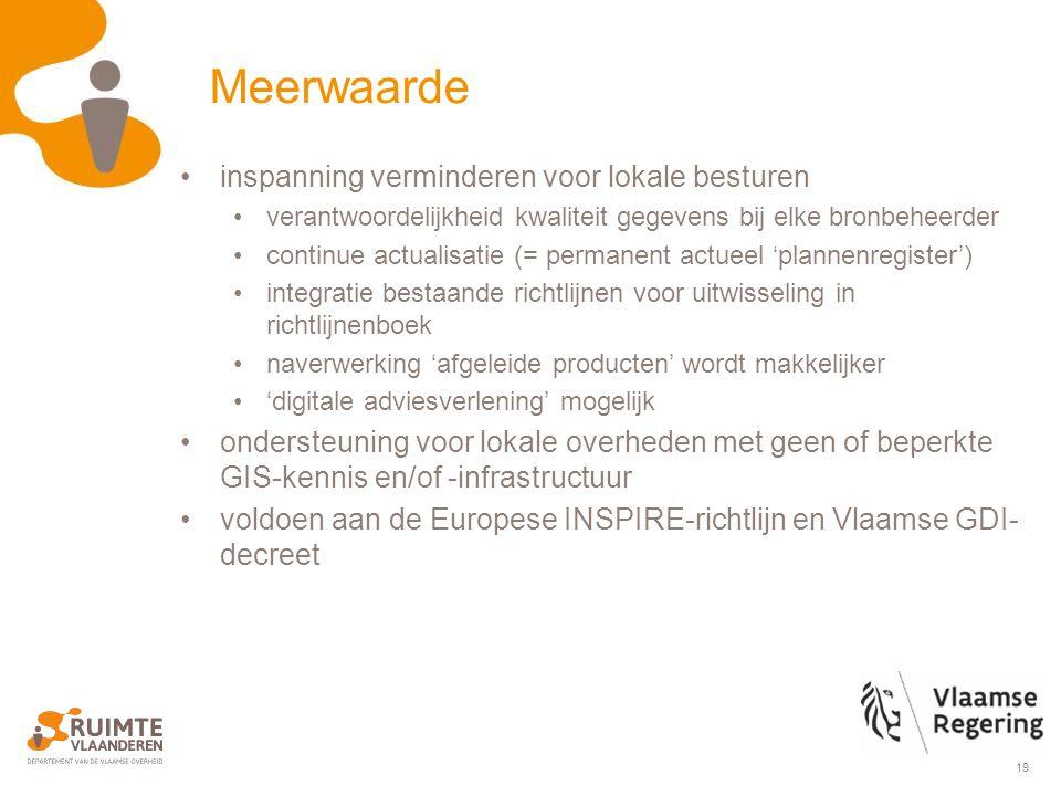 19 inspanning verminderen voor lokale besturen verantwoordelijkheid kwaliteit gegevens bij elke bronbeheerder continue actualisatie (= permanent actueel 'plannenregister') integratie bestaande richtlijnen voor uitwisseling in richtlijnenboek naverwerking 'afgeleide producten' wordt makkelijker 'digitale adviesverlening' mogelijk ondersteuning voor lokale overheden met geen of beperkte GIS-kennis en/of -infrastructuur voldoen aan de Europese INSPIRE-richtlijn en Vlaamse GDI- decreet Meerwaarde