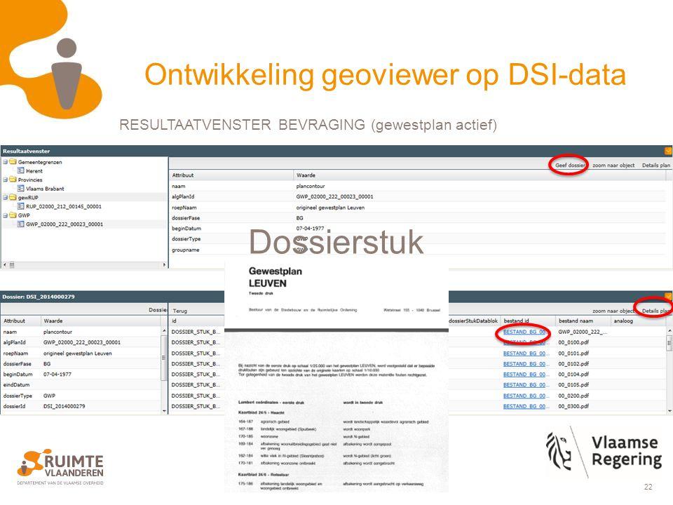 22 Dossierstuk Ontwikkeling geoviewer op DSI-data RESULTAATVENSTER BEVRAGING (gewestplan actief)