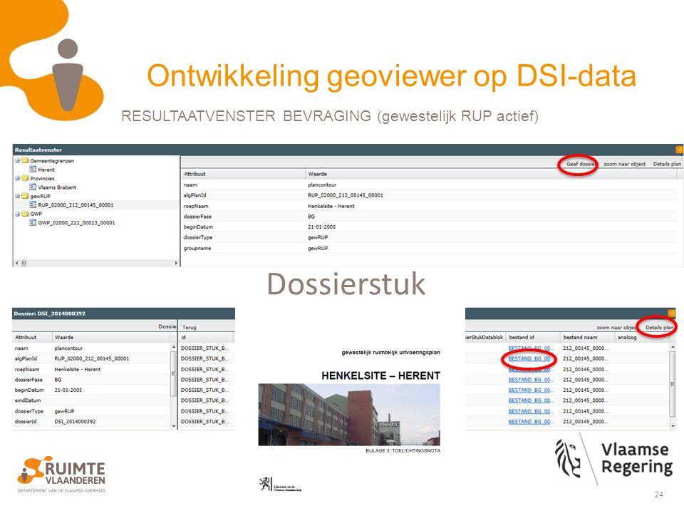 24 Dossierstuk RESULTAATVENSTER BEVRAGING (gewestelijk RUP actief) Ontwikkeling geoviewer op DSI-data