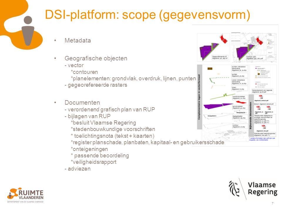 8 DSI-platform: scope (uitwisselplatform) Bronsystemen Doelsystemen Plannenviewer, DBA, RWO DM, Mercator, Desktop GIS, … Transact.
