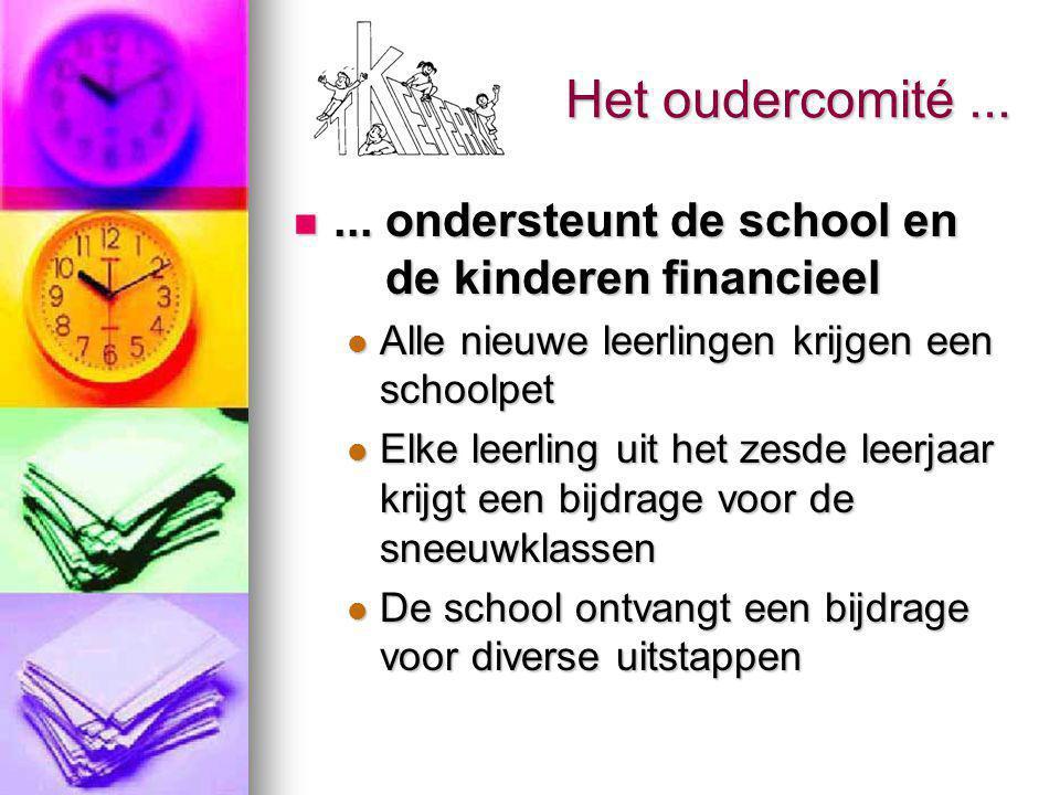 Het oudercomité...... ondersteunt de school en de kinderen financieel...