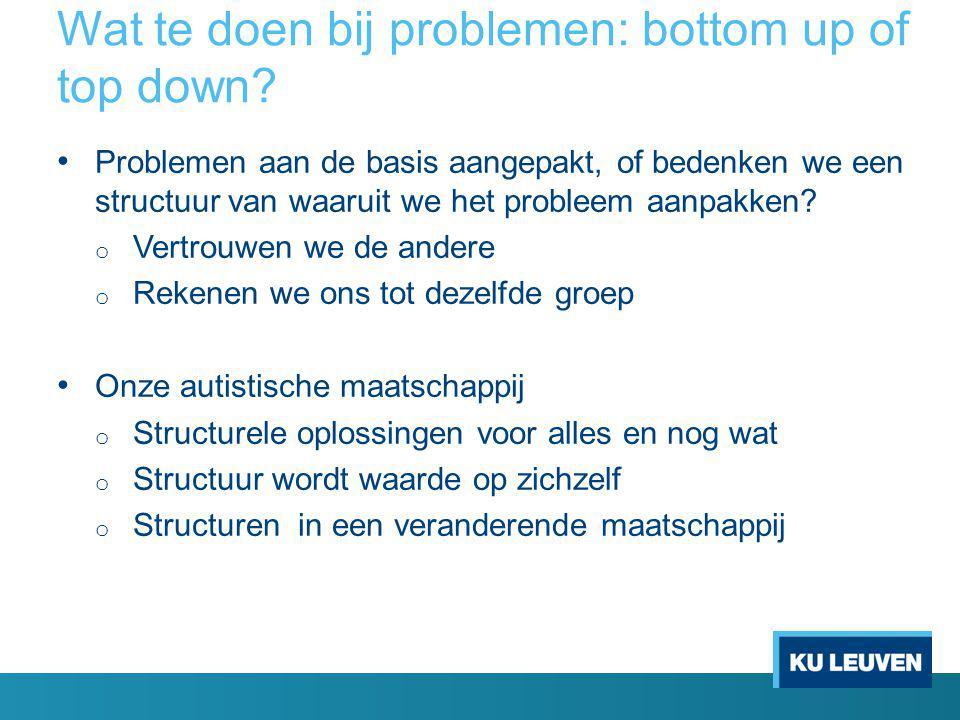 Wat te doen bij problemen: bottom up of top down? Problemen aan de basis aangepakt, of bedenken we een structuur van waaruit we het probleem aanpakken