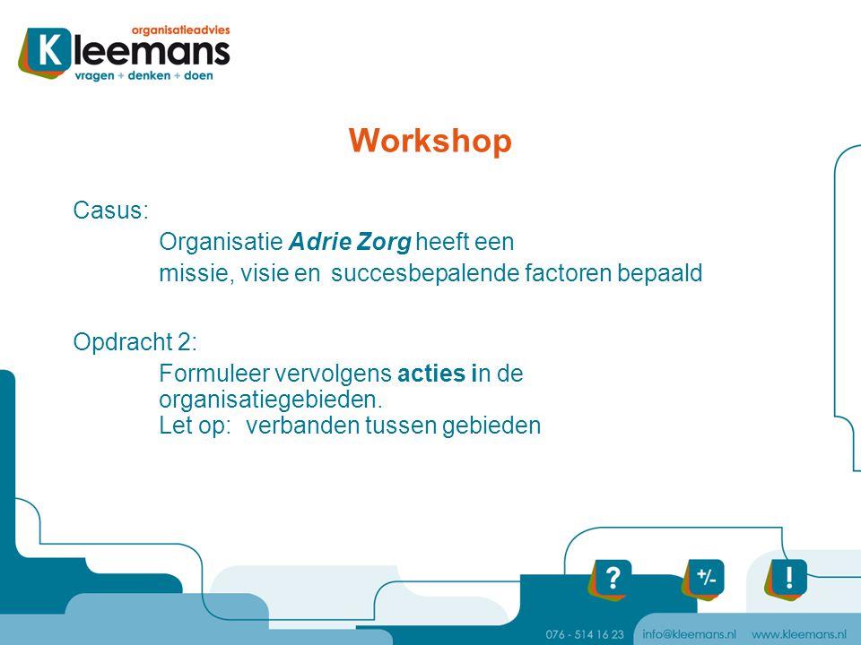 Workshop Casus: Organisatie Adrie Zorg heeft een missie, visie en succesbepalende factoren bepaald Opdracht 2: Formuleer vervolgens acties in de organ
