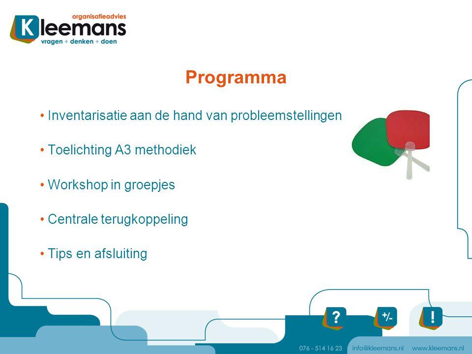 Programma Inventarisatie aan de hand van probleemstellingen Toelichting A3 methodiek Workshop in groepjes Centrale terugkoppeling Tips en afsluiting