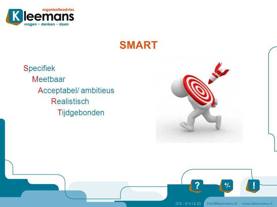 SMART Specifiek Meetbaar Acceptabel/ ambitieus Realistisch Tijdgebonden