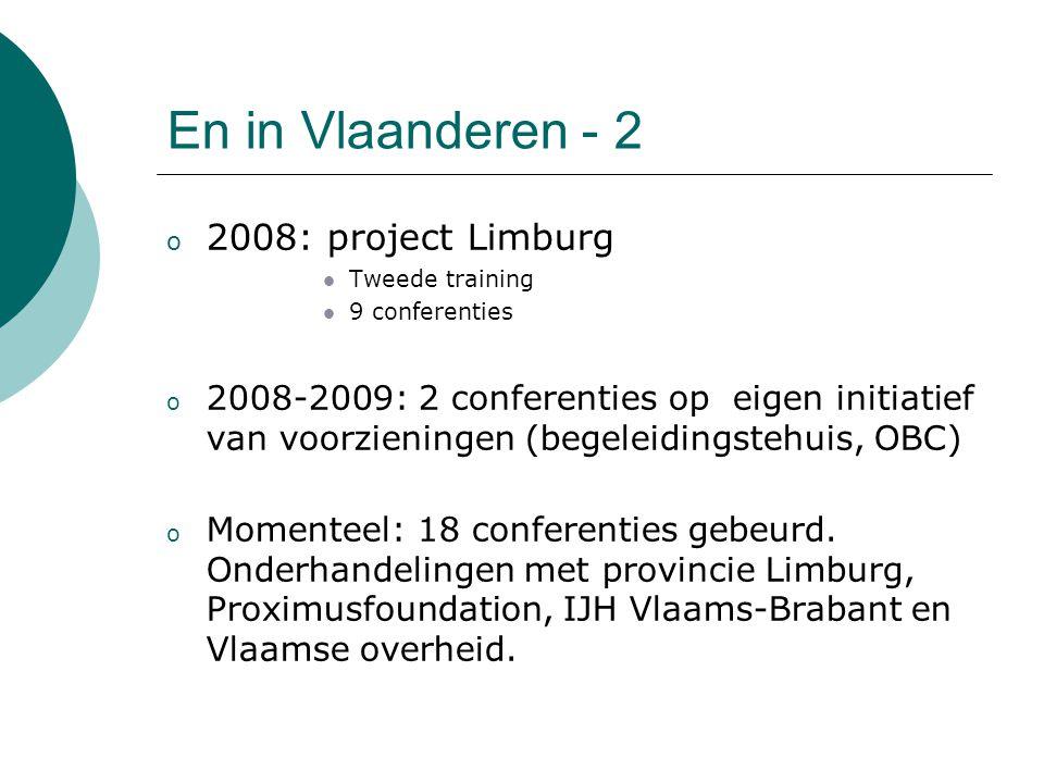 En in Vlaanderen - 2 o 2008: project Limburg Tweede training 9 conferenties o 2008-2009: 2 conferenties op eigen initiatief van voorzieningen (begelei