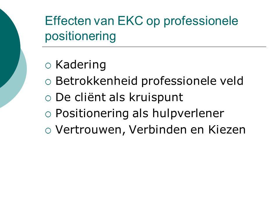 Effecten van EKC op professionele positionering  Kadering  Betrokkenheid professionele veld  De cliënt als kruispunt  Positionering als hulpverlen