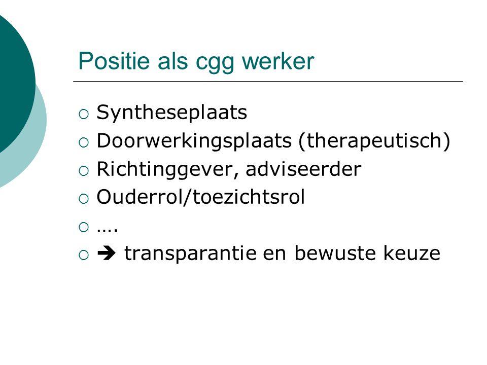 Positie als cgg werker  Syntheseplaats  Doorwerkingsplaats (therapeutisch)  Richtinggever, adviseerder  Ouderrol/toezichtsrol  ….   transparant