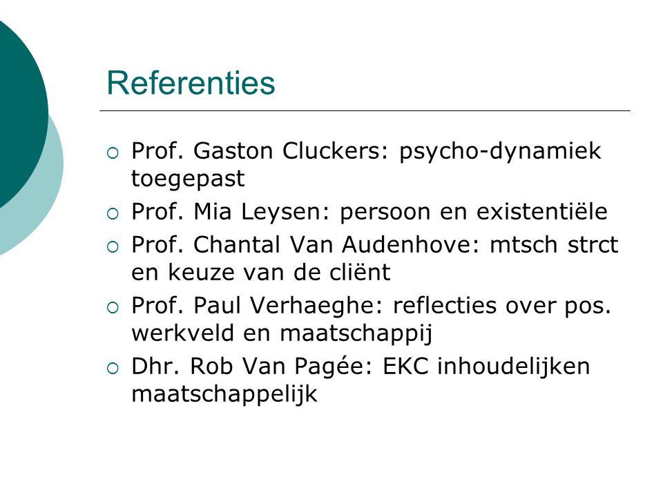 Referenties  Prof. Gaston Cluckers: psycho-dynamiek toegepast  Prof. Mia Leysen: persoon en existentiële  Prof. Chantal Van Audenhove: mtsch strct