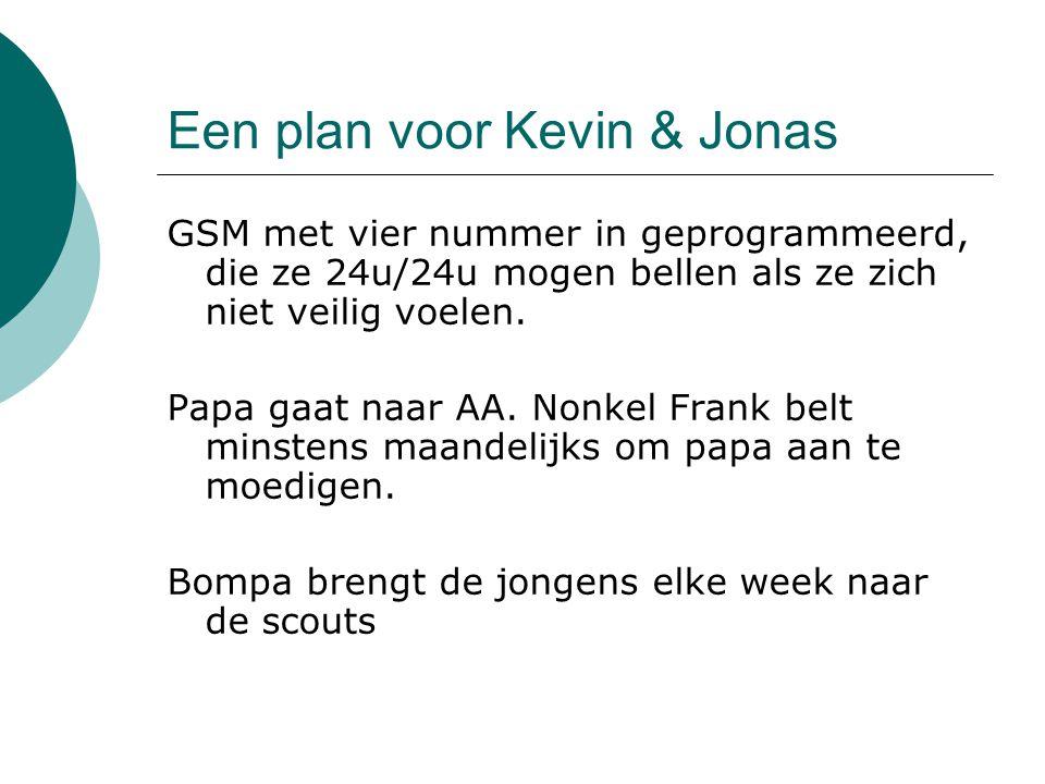 Een plan voor Kevin & Jonas GSM met vier nummer in geprogrammeerd, die ze 24u/24u mogen bellen als ze zich niet veilig voelen. Papa gaat naar AA. Nonk