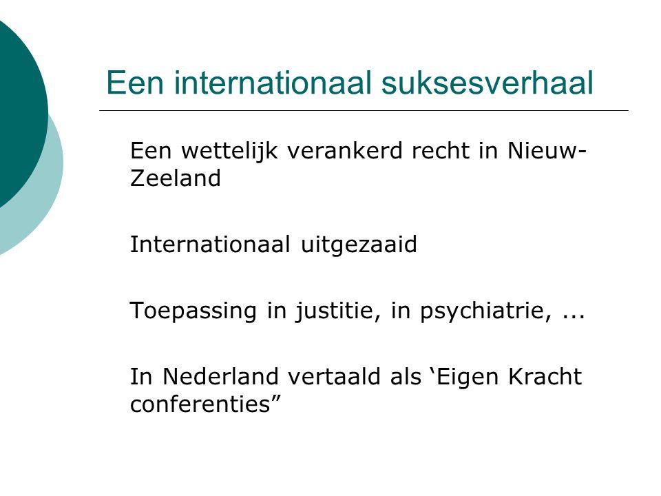 Een internationaal suksesverhaal  Een wettelijk verankerd recht in Nieuw- Zeeland  Internationaal uitgezaaid  Toepassing in justitie, in psychiatri