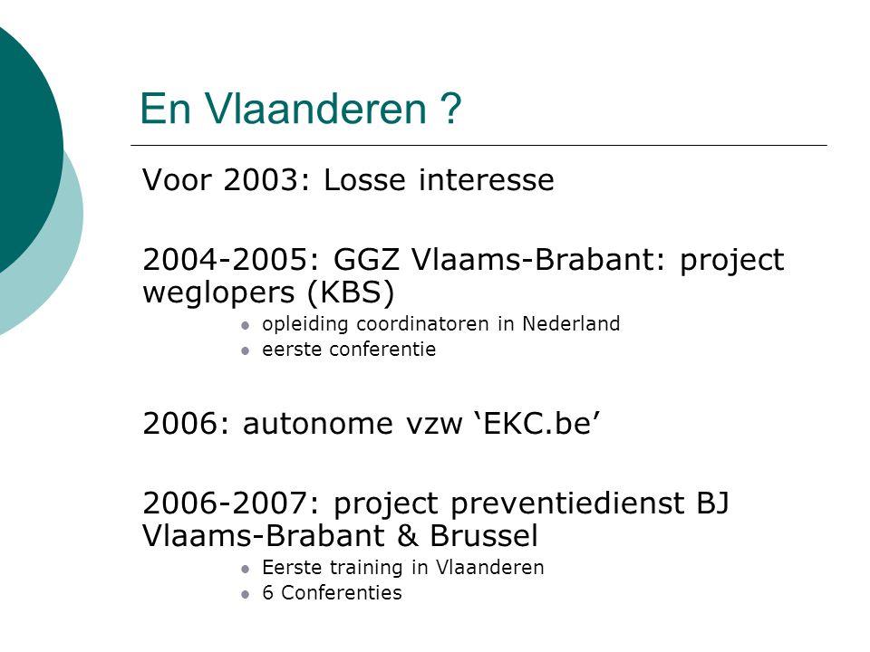 En Vlaanderen ?  Voor 2003: Losse interesse  2004-2005: GGZ Vlaams-Brabant: project weglopers (KBS) opleiding coordinatoren in Nederland eerste conf