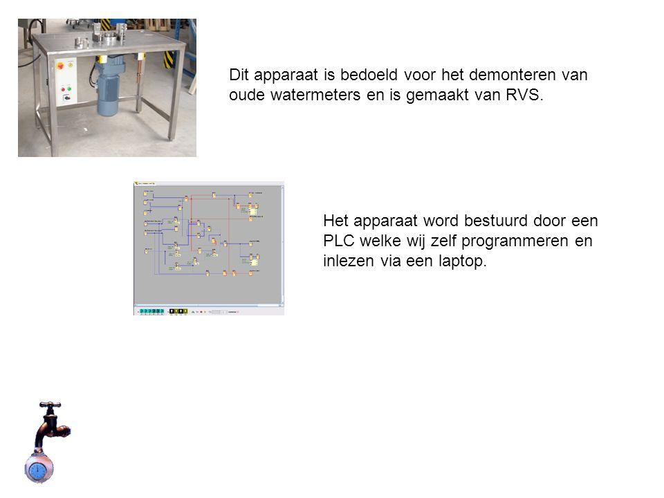 Het apparaat word bestuurd door een PLC welke wij zelf programmeren en inlezen via een laptop.