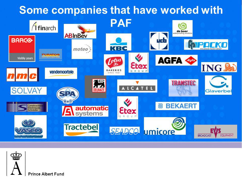 Prince Albert Fund Some companies that have worked with PAF