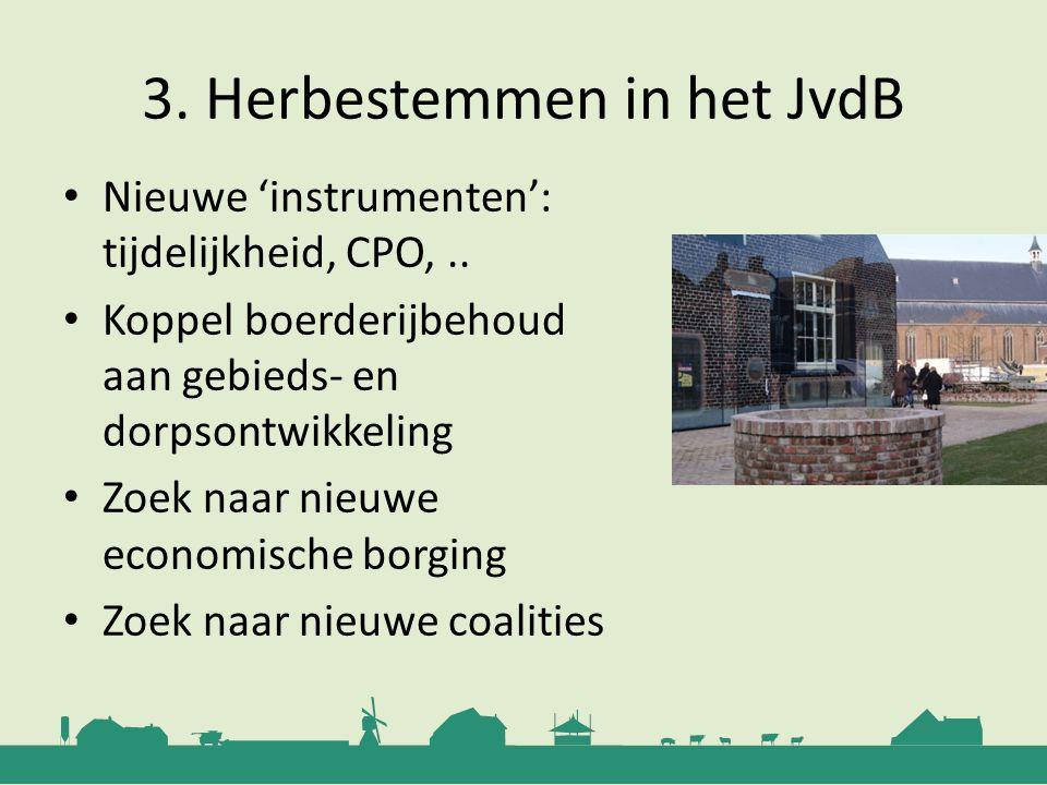 3. Herbestemmen in het JvdB Nieuwe 'instrumenten': tijdelijkheid, CPO,.. Koppel boerderijbehoud aan gebieds- en dorpsontwikkeling Zoek naar nieuwe eco