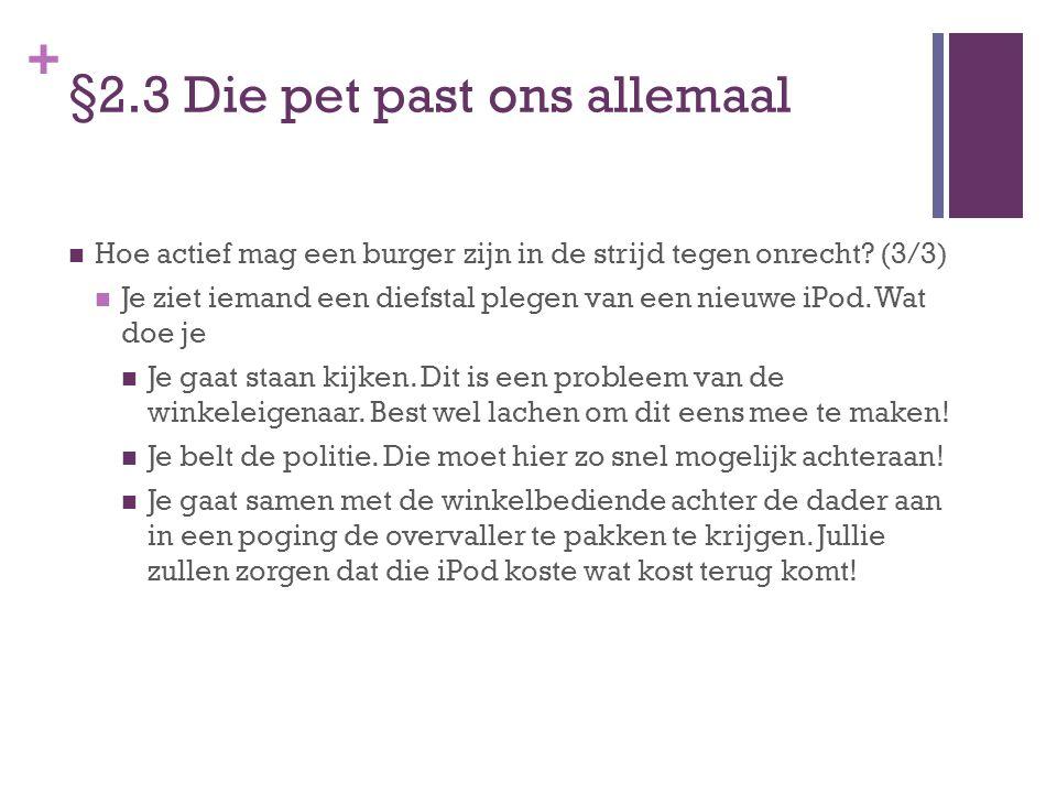 + §2.3 Die pet past ons allemaal Voorbeeld winkelbediende Albert Heijn die winkeldief mishandelde.
