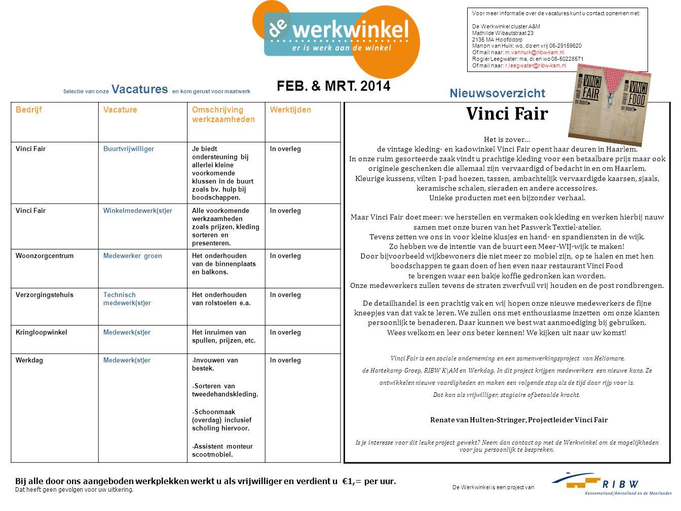 BedrijfVacatureOmschrijving werkzaamheden Werktijden Vinci FairBuurtvrijwilligerJe biedt ondersteuning bij allerlei kleine voorkomende klussen in de buurt zoals bv.