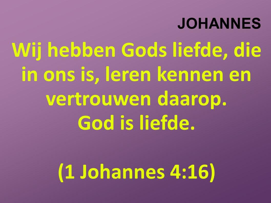 JOHANNES Wij hebben Gods liefde, die in ons is, leren kennen en vertrouwen daarop.