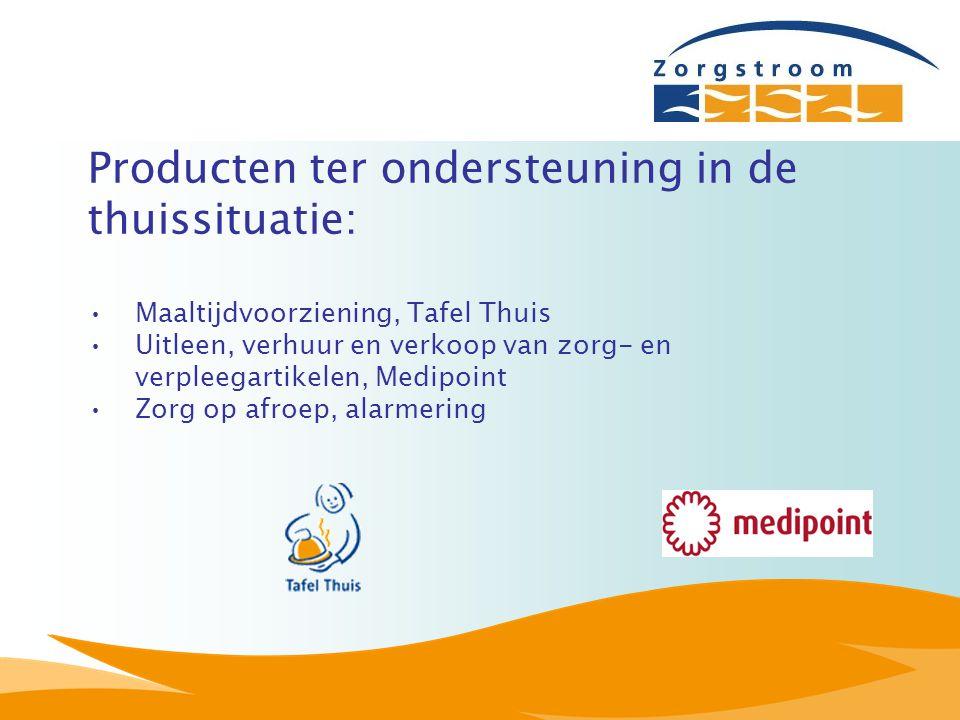 Producten ter ondersteuning in de thuissituatie: Maaltijdvoorziening, Tafel Thuis Uitleen, verhuur en verkoop van zorg- en verpleegartikelen, Medipoin