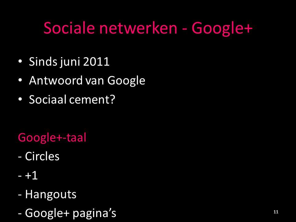 Sociale netwerken - Google+ Sinds juni 2011 Antwoord van Google Sociaal cement? Google+-taal - Circles - +1 - Hangouts - Google+ pagina's 11