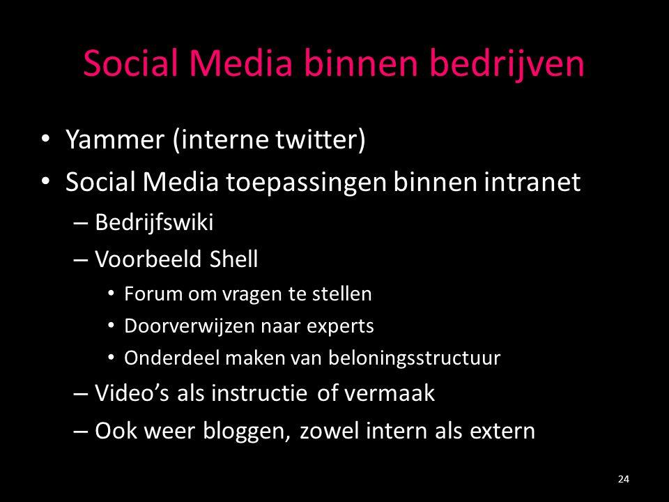 Social Media binnen bedrijven Yammer (interne twitter) Social Media toepassingen binnen intranet – Bedrijfswiki – Voorbeeld Shell Forum om vragen te stellen Doorverwijzen naar experts Onderdeel maken van beloningsstructuur – Video's als instructie of vermaak – Ook weer bloggen, zowel intern als extern 24
