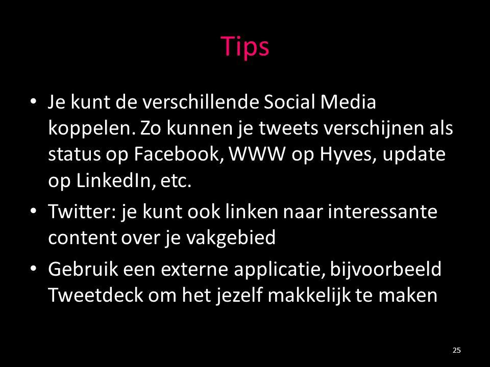 Tips Je kunt de verschillende Social Media koppelen. Zo kunnen je tweets verschijnen als status op Facebook, WWW op Hyves, update op LinkedIn, etc. Tw