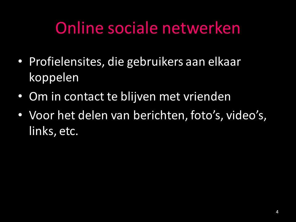 Online sociale netwerken Profielensites, die gebruikers aan elkaar koppelen Om in contact te blijven met vrienden Voor het delen van berichten, foto's