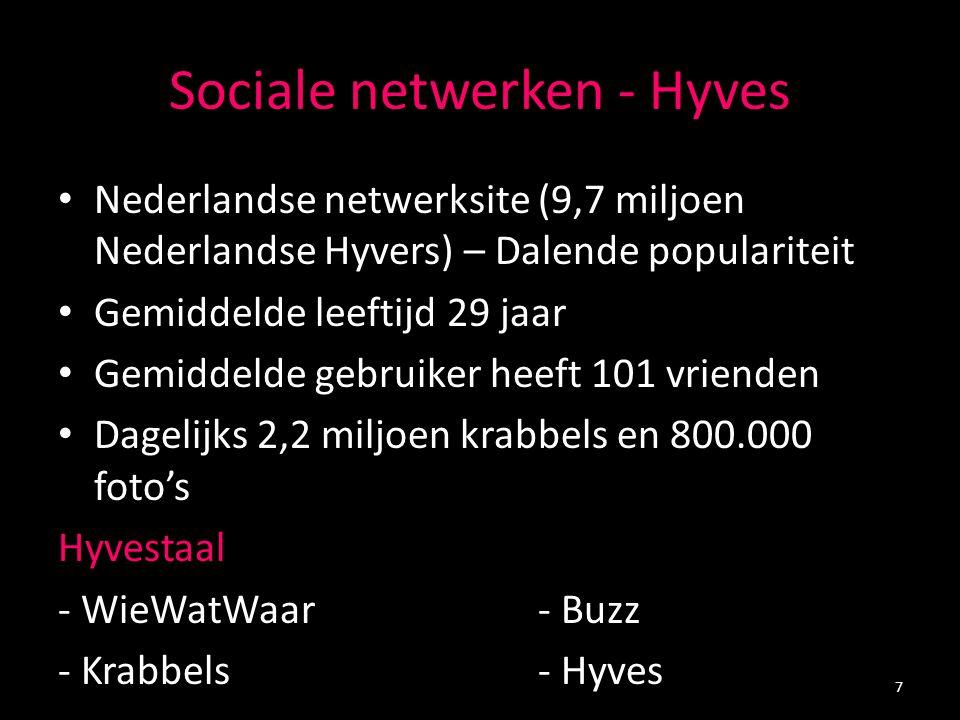 Sociale netwerken - Hyves Nederlandse netwerksite (9,7 miljoen Nederlandse Hyvers) – Dalende populariteit Gemiddelde leeftijd 29 jaar Gemiddelde gebruiker heeft 101 vrienden Dagelijks 2,2 miljoen krabbels en 800.000 foto's Hyvestaal - WieWatWaar - Buzz - Krabbels- Hyves 7