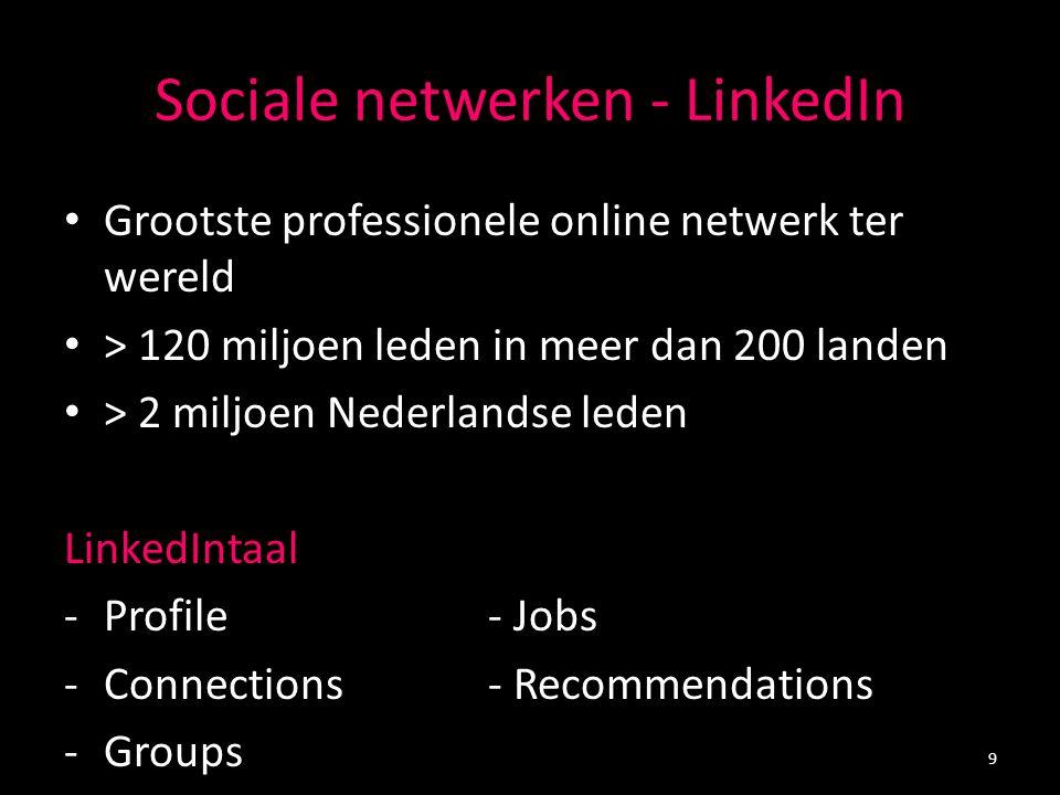 Sociale netwerken - LinkedIn Grootste professionele online netwerk ter wereld > 120 miljoen leden in meer dan 200 landen > 2 miljoen Nederlandse leden
