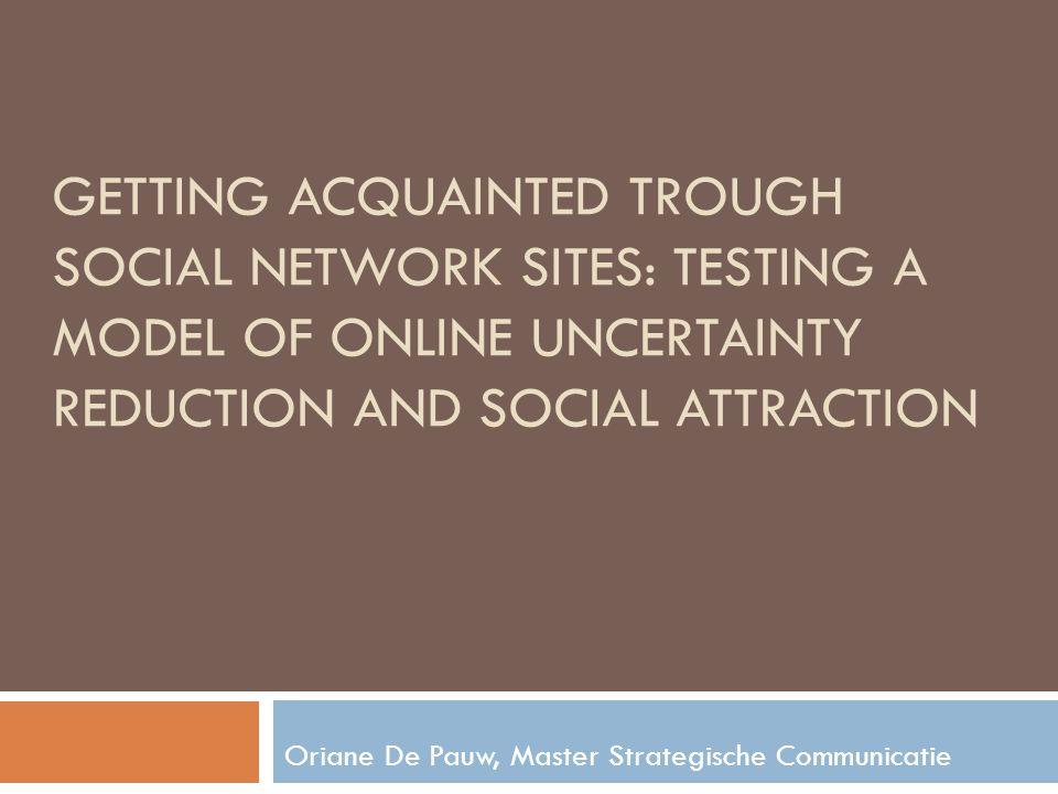 Resultaten 2 e doel: nagaan hoe onzekerheidsreductie-processen op SNS aan sociale aantrekkelijkheid zijn gerelateerd  passieve strategie komt meeste voor op SNS, maar interactieve strategie is beter voor onzekerheid te verlagen  hogere sociale aantrekkelijkheid op SNS bij een laag niveau van onzekerheid