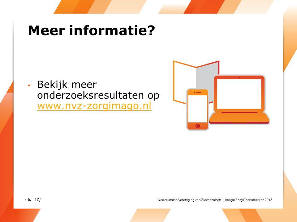 Nederlandse Vereniging van Ziekenhuizen | Imago Zorg Consumenten 2013 Meer informatie? Bekijk meer onderzoeksresultaten op www.nvz-zorgimago.nl www.nv
