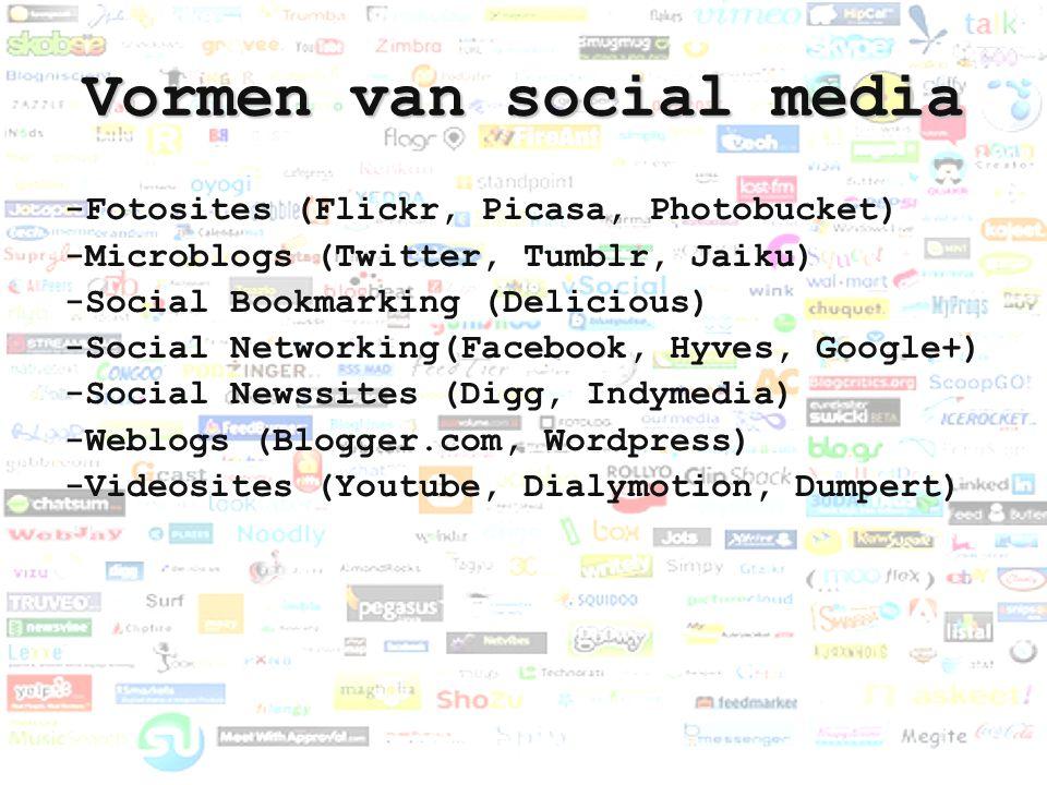 Vormen van social media -Fotosites (Flickr, Picasa, Photobucket) -Microblogs (Twitter, Tumblr, Jaiku) -Social Bookmarking (Delicious) -Social Networki