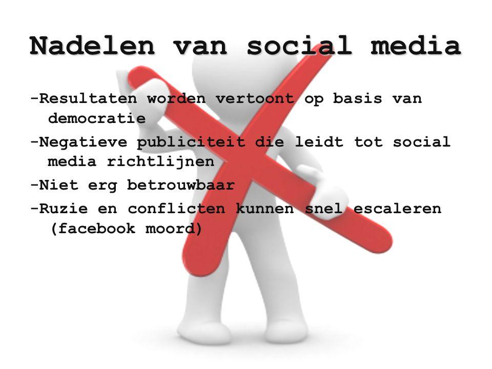 Nadelen van social media -Resultaten worden vertoont op basis van democratie -Negatieve publiciteit die leidt tot social media richtlijnen -Niet erg b