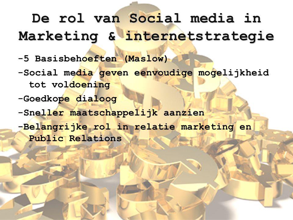 De rol van Social media in Marketing & internetstrategie -5 Basisbehoeften (Maslow) -Social media geven eenvoudige mogelijkheid tot voldoening -Goedko
