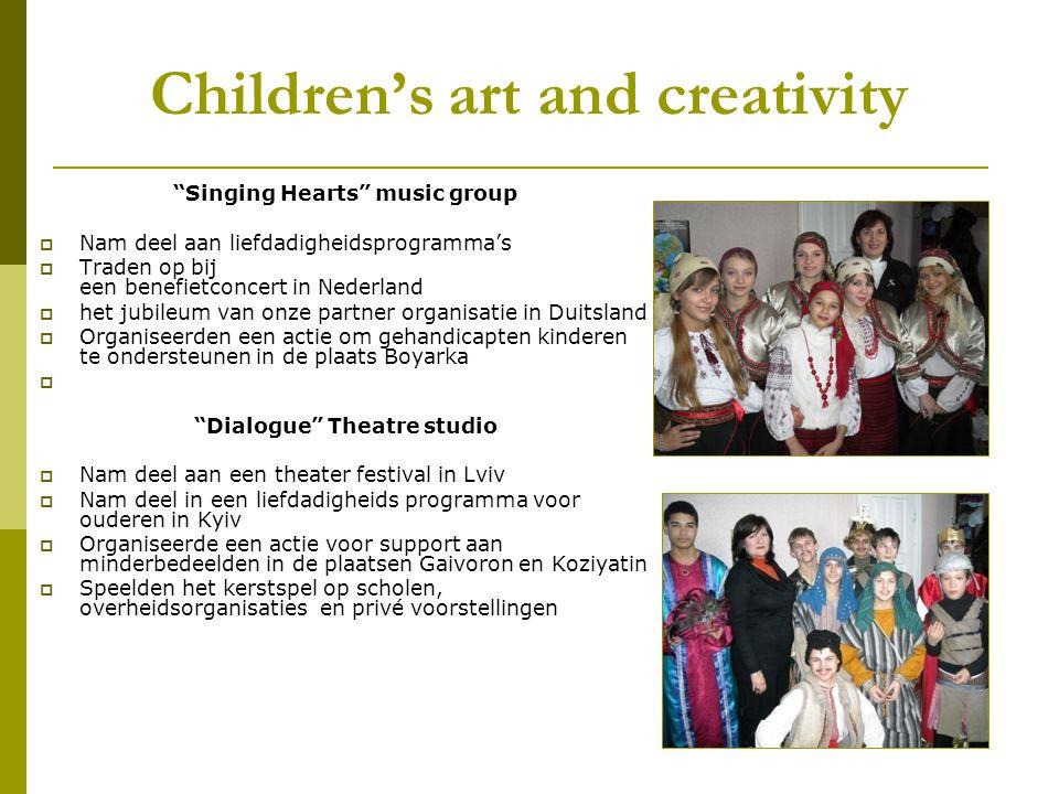 Children's art and creativity Singing Hearts music group  Nam deel aan liefdadigheidsprogramma's  Traden op bij een benefietconcert in Nederland  het jubileum van onze partner organisatie in Duitsland  Organiseerden een actie om gehandicapten kinderen te ondersteunen in de plaats Boyarka Dialogue Theatre studio  Nam deel aan een theater festival in Lviv  Nam deel in een liefdadigheids programma voor ouderen in Kyiv  Organiseerde een actie voor support aan minderbedeelden in de plaatsen Gaivoron en Koziyatin  Speelden het kerstspel op scholen, overheidsorganisaties en privé voorstellingen