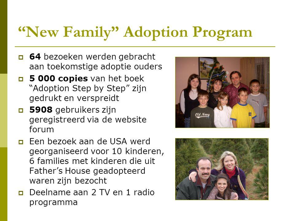 """""""New Family"""" Adoption Program  64 bezoeken werden gebracht aan toekomstige adoptie ouders  5 000 copies van het boek """"Adoption Step by Step"""" zijn ge"""
