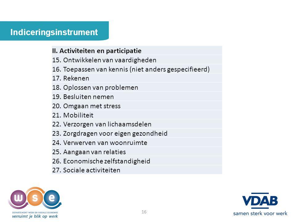 16 Indiceringsinstrument 16 II. Activiteiten en participatie 15. Ontwikkelen van vaardigheden 16. Toepassen van kennis (niet anders gespecifieerd) 17.