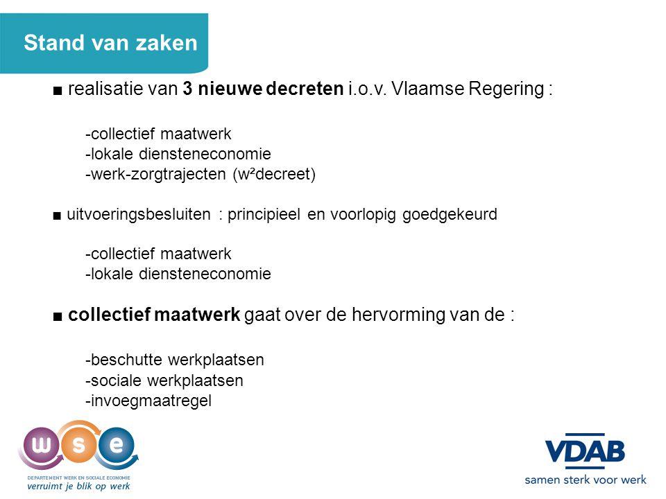 2 Stand van zaken ■ realisatie van 3 nieuwe decreten i.o.v. Vlaamse Regering : -collectief maatwerk -lokale diensteneconomie -werk-zorgtrajecten (w²de